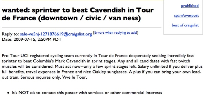 A Tour de France first: a sprinter job listing.